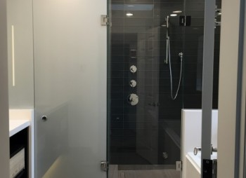 Residential Custom Shower with Frosted Glass
