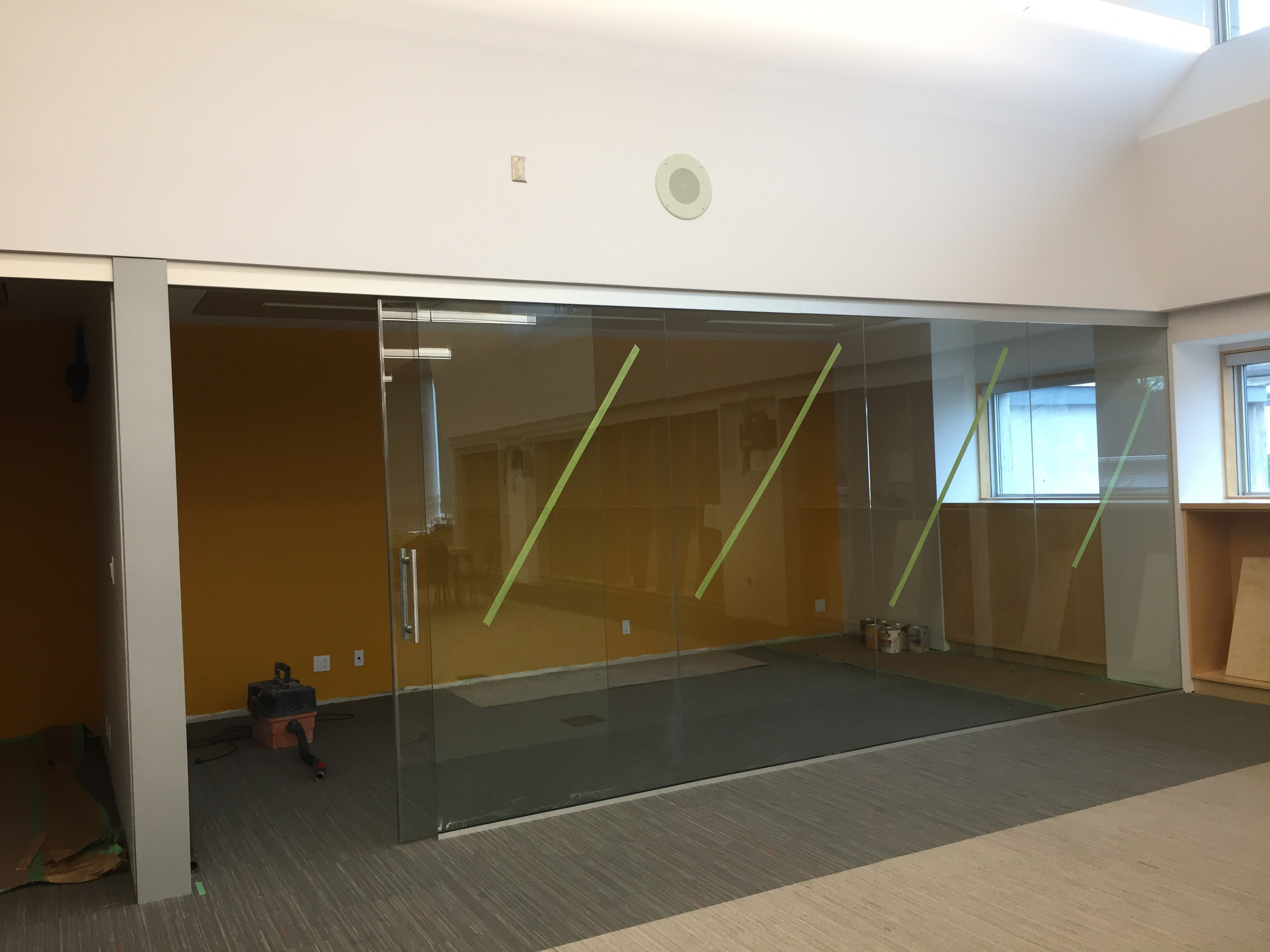 Interior office glass walls sliding glass doors curtain for Sliding glass door wall