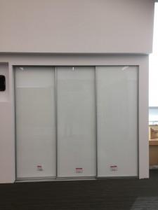 White sliding glass doors