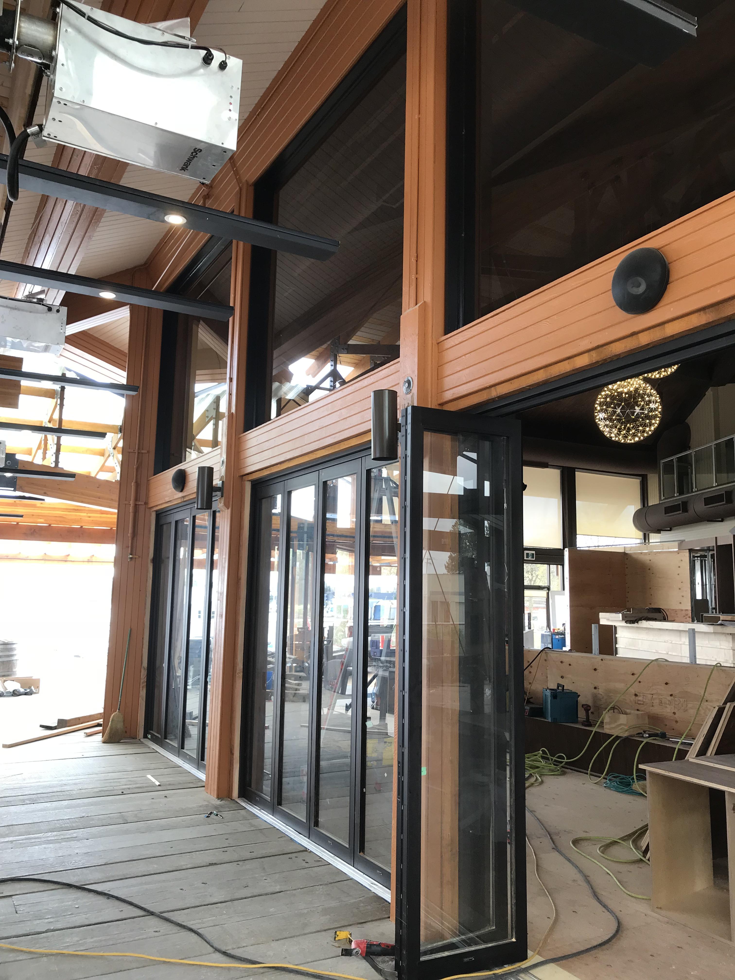 Commercial Aluminum Glass Folding Doors Creating Three